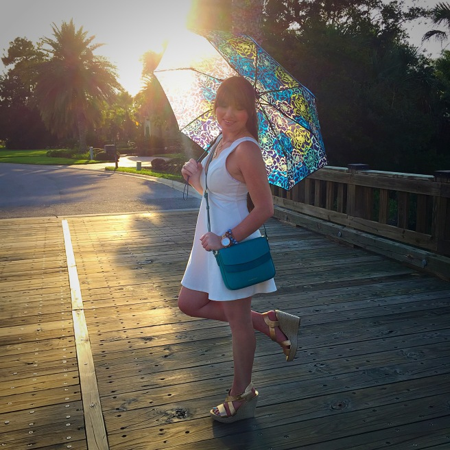 Dress: Original Piece Boutique Purse & Umbrella: Vera Bradley Shoes: Michael Kors