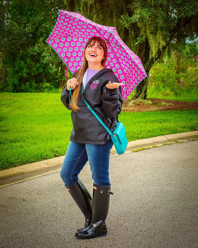 Umbrella & Handbag: Vera Bradley Rain Jacket: Marley Lilly Boots: Hunter Boots Jeans: Articles of Society