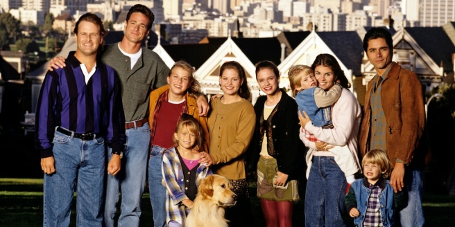 UNITED STATES - SEPTEMBER 27:  FULL HOUSE - On location in San Francisco - Season Eight - 9/27/94, Pictured, from left: Dave Coulier (Joey), Bob Saget (Danny), Jodie Sweetin (Stephanie), Mary Kate Olsen (Michelle), Candace Cameron (D.J.), Andrea Barber (Kimmy), Blake Tuomy-Wilhoit (Nicky), Lori Loughlin (Rebecca), Dylan Tuomy-Wilhoit (Alex), John Stamos (Jesse). ,  (Photo by Craig Sjodin/ABC via Getty Images)