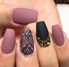 Saw this on pinterest!! Example of the mauve matte nails!